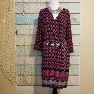 Lucky Brand Red and Blue Sheath Dress Sz Lg
